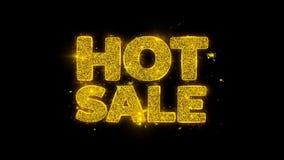 Gorąca sprzedaży typografia pisać z złotymi cząsteczkami iskrzy fajerwerki