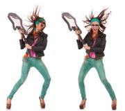 Gorąca z podnieceniem rock and roll kobiety łamania gitara Obraz Royalty Free