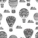 Gorące powietrze balon, benzynowi balony, samolot Bezszwowy czerń i whit Fotografia Stock
