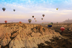 Gorące powietrze balon, Cappadocia Turcja wschód słońca Zdjęcia Royalty Free