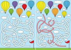 Gorące powietrze balonowy labirynt ilustracja wektor