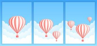 Gorące powietrze balonu chmury głąbika promo sztandaru szablon ilustracja wektor