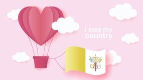 Gorące powietrze balony w kształcie kierowy latanie w chmurach z flagą państowową watykan Papierowa sztuka i cięcie, origami styl ilustracja wektor