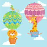Gorące powietrze szybko się zwiększać z zwierzętami ilustracja wektor