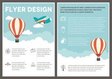 Gorące Powietrze ulotki szablonu Balonowy projekt royalty ilustracja