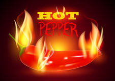 Gorącego chili pieprz w ogieniu Obrazy Royalty Free