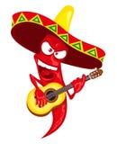 Gorącego chili pieprzu podżegaczka bawić się gitarę Zdjęcie Stock