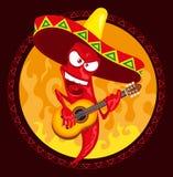 Gorącego chili pieprzu podżegaczka bawić się gitarę Obrazy Stock