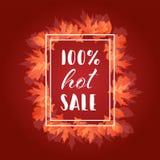 Gorącego sprzedaży jesieni spadku Typograficzny sztandar i liście Obraz Stock