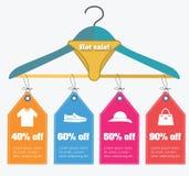 Gorącej sprzedaży konceptualna ilustracja z zakupy odziewa etykietki i rabaty Ilustracja Wektor
