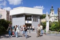 Gorącej wiosny kolumnada w zdroju grodzki Karlovy Zmienia, Zachodnia cyganeria, republika czech obrazy royalty free