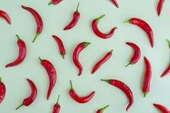 Gorący chili pieprz na zielonym tle, rama, flatlay fotografia stock