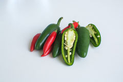 Gorący chili pieprze na białym tle Zdjęcia Royalty Free