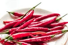 Gorący chili pieprzu projekt na bielu stołu tła zakończeniu up Zdjęcia Royalty Free