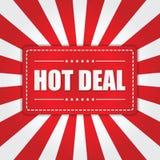 Gorący Dylowy sztandar z sunburst skutkiem na białym i czerwonym tle Obraz Stock
