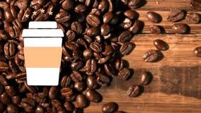 gorący filiżanka logo i kawowe fasole