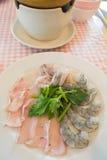 Gorący garnków składniki - owoce morza zdjęcie royalty free