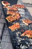 Gorący grill żebruje grilla na kratownicie Fotografia Stock