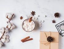 Gorący kakao, bawełny gałąź i sosna rożki na marmurowym tle, obraz stock