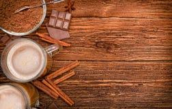 Gorący kakaowy napój Tło zdjęcia stock