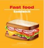 Gorący kanapka wektor realistyczny Fasta food egzamin próbny w górę 3d szczegółowych ilustracji ilustracja wektor
