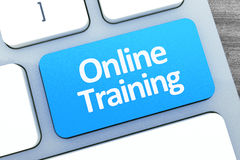 Gorący klucz dla Onlinego szkolenia na Nowożytnej Komputerowej klawiaturze wierzchołek rywalizuje Zdjęcie Royalty Free