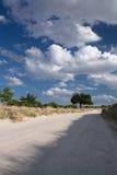 Gorący letni dzień w tureckim piaskowiec pustyni odprowadzeniu z niebieskim niebem i chmurami Fotografia Royalty Free