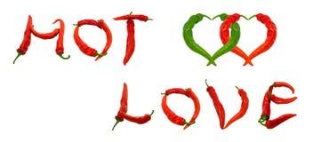 GORĄCY miłość tekst i dwa serca komponowaliśmy chili pieprze Zdjęcia Royalty Free