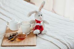 Gorący mleko w szklanym miodzie na drewnianej desce i filiżance Traktowanie dziecko napój lud remedia w łóżku miękka zabawka Fotografia Stock