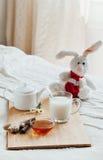Gorący mleko w szklanym miodzie na drewnianej desce i filiżance Traktowanie dziecko napój lud remedia w łóżku miękka zabawka Fotografia Royalty Free