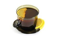 Gorący napój z cytryną na białym tle Obraz Stock