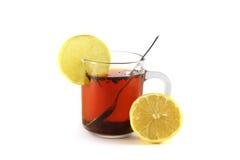 Gorący napój z cytryną, odizolowywającą na białym tle Zdjęcie Royalty Free