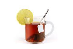 Gorący napój z cytryną, odizolowywającą na białym tle Fotografia Royalty Free
