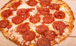 Gorący Pepperoni pizzy zakończenie Zdjęcie Royalty Free
