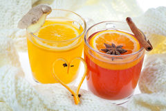 Gorący poncz i pomarańczowy napój Obraz Royalty Free
