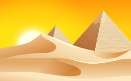Gorący pustynia krajobraz ilustracji