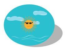 Gorący słońce z czarnymi szkłami Fotografia Royalty Free