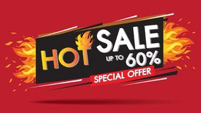Gorący sprzedaż ogienia oparzenie szablonu sztandaru pojęcia projekt, Duża sprzedaż dodatku specjalnego 60% oferta końcówka sezon royalty ilustracja