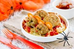 Gorący straszny jedzenie dla Halloween przyjęcia, wakacyjna dekoracja ustawia p Obraz Stock