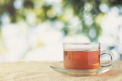 Gorący szkło herbata pije czas na boku na drewno stole dla ranku Obraz Stock