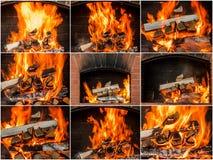 Gorący węgle w pożarniczym kolażu płomienie ustawiający Fotografia Stock
