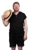 Gorący w średnim wieku mężczyzna w słomianym kapeluszu obrazy royalty free