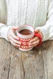 Gorący zima napój w rękach Obraz Royalty Free