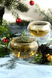 Gorących bożych narodzeń sosny herbaciany szklany rożek Zdjęcie Stock