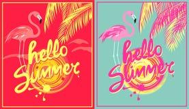 Gorących menchii i mennicy koloru plakaty z cześć, menchii różą i barwią flaminga Różnica ja ilustracji