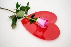 Gorących menchii róża umieszczająca na górze czerwonego serce talerza Zdjęcia Stock