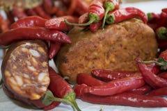 Gorących pieprzy nduja i salami obraz stock