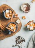 Gorąca czekolada w emalia kubkach z cynamonem i piec marshmallows Obrazy Stock