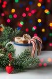 Gorąca czekolada z marshmallow i cukierku trzcinami na jaskrawym bokeh b Obraz Royalty Free