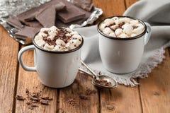 Gorąca czekolada z marshmallows w dwa emalia blaszanych kubkach Zdjęcie Royalty Free